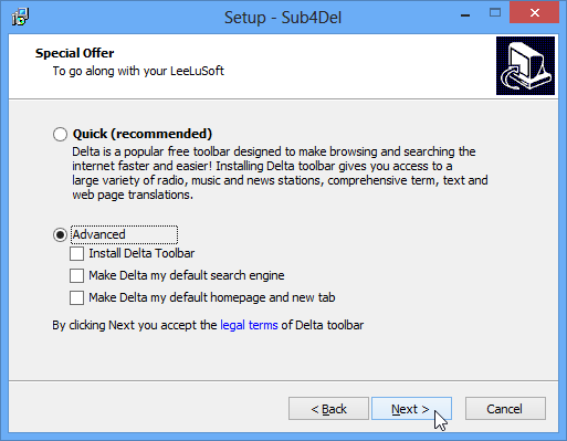 Declining offer to install Delta toolbar