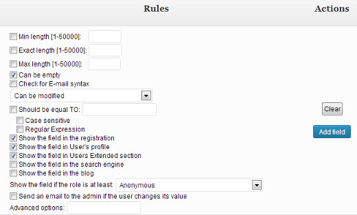 Configure rules for additional user profile registration field