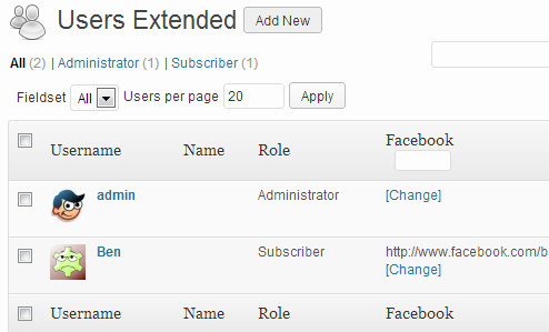 Manage extended user profile fields