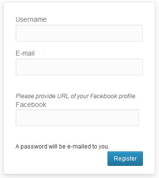 WordPress user registration page with extra field