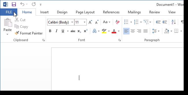 01 clicking file tab6 نحوه اضافه کردن کلید میانبر برای یک دستور در ورد 2013