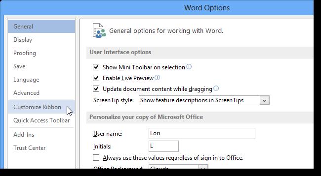 03 clicking customize ribbon5 نحوه اضافه کردن کلید میانبر برای یک دستور در ورد 2013