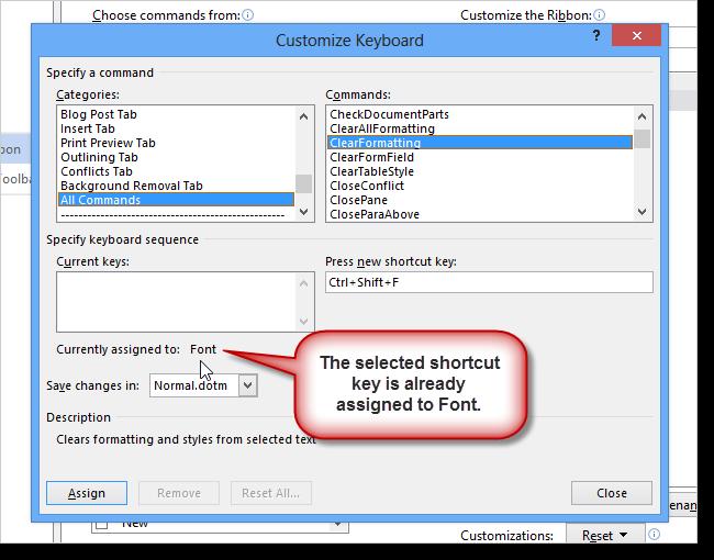 06a shortcut key taken5 نحوه اضافه کردن کلید میانبر برای یک دستور در ورد 2013