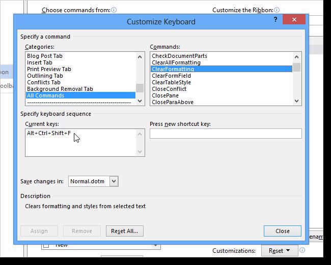 07 shortcut key assigned3 نحوه اضافه کردن کلید میانبر برای یک دستور در ورد 2013