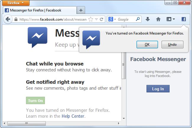 facebook messenger for firefox62 چگونگی ادغام فایرفاکس با فیس بوک و دیگر شبکه های اجتماعی