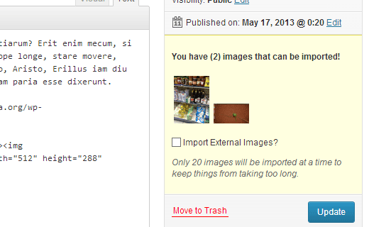 Import external images inside a post