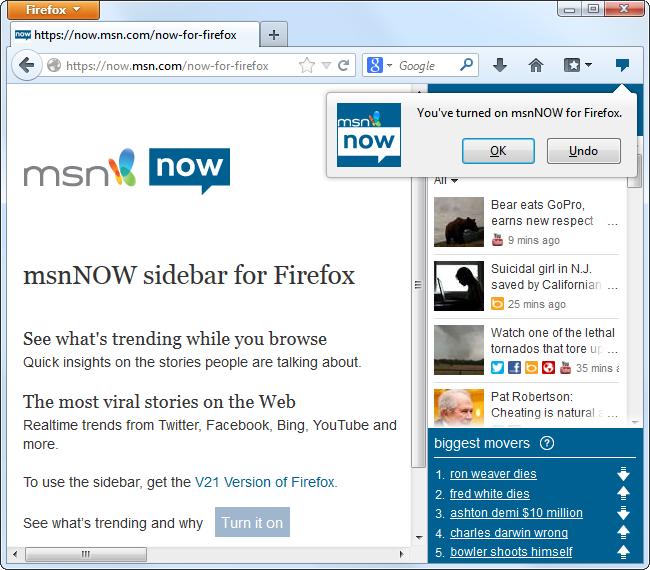 msnnow for firefox1 چگونگی ادغام فایرفاکس با فیس بوک و دیگر شبکه های اجتماعی