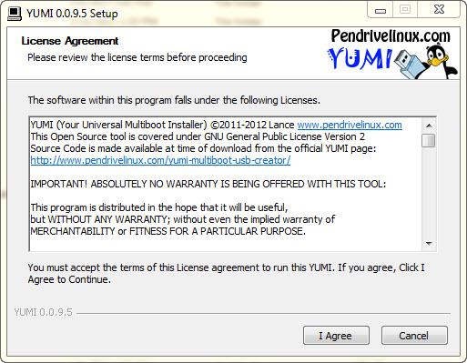 yumi license نصب چند سیستم عامل روی یک USB درایو