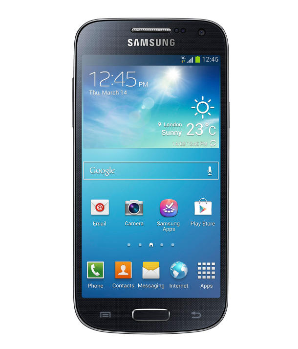 The Galaxy S4 Mini has a 4.3-inch Super AMOLED screen. Inside is a 1.7GHz dual-core processor.