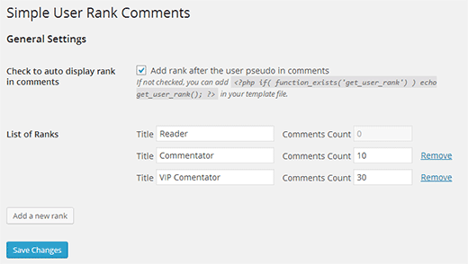 Create user ranks based on number of comments by a user in WordPress